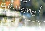 Go Home typography overlaying blurry, abstract image, montage Stock Photo - Premium Royalty-Free, Artist: Michael Alberstat, Code: 696-03399836