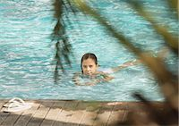 Little girl swimming in pool Stock Photo - Premium Royalty-Freenull, Code: 696-03401023