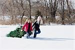 Girls Dragging Christmas Tree through Snow Stock Photo - Premium Royalty-Free, Artist: Alison Barnes Martin, Code: 600-03403765