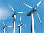 Wind Turbines Against Blue Sky Stock Photo - Premium Rights-Managed, Artist: Huber-Starke, Code: 700-03404320
