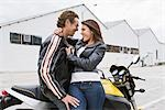 Couple with Motorcycle, Embracing Stock Photo - Premium Rights-Managed, Artist: Kevin Dodge, Code: 700-03406470