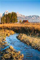 Stream at John Moulton Barn in front of Grand Tetons, Mormon Row, Jackson Hole, Grand Teton National Park, Wyoming, USA Stock Photo - Premium Rights-Managednull, Code: 700-03407447