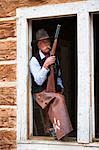Cowboy with Rifle, Wyoming, USA Stock Photo - Premium Rights-Managed, Artist: F. Lukasseck, Code: 700-03407501