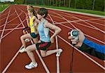 3 female athletes and trainer Stock Photo - Premium Royalty-Free, Artist: iRepublic, Code: 649-03417685