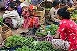 Myanmar. Burma. Nyaung U. A busy market scene with fresh fruit and vegetables at Nyaung U. Local scales for weighing produce are commonly used. Stock Photo - Premium Rights-Managed, Artist: AWL Images, Code: 862-03437270