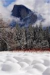 USA,California,Yosemite National Park. Fresh snow fall on Half Dome peak above unusual snow formations in Yosemite Valley. Stock Photo - Premium Rights-Managed, Artist: AWL Images, Code: 862-03437443