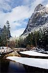 USA,California,Yosemite National Park. Fresh snow fall in Yosemite Valley and on Merced River. Stock Photo - Premium Rights-Managed, Artist: AWL Images, Code: 862-03437444