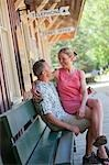 Couple Waiting at a Train Depot, Near Santa Cruz, California, USA Stock Photo - Premium Rights-Managed, Artist: Ty Milford, Code: 700-03439974