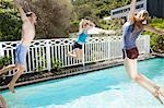Friends jumping into swimming pool Stock Photo - Premium Royalty-Freenull, Code: 635-03441030