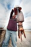 Man Holding Squid, Baja, Mexico Stock Photo - Premium Rights-Managed, Artist: Mark Downey, Code: 700-03446080