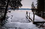 Ice around a dock on Lake George in winter, Lake George, The Adirondacks, New York State, United States of America, North America Stock Photo - Premium Rights-Managed, Artist: Robert Harding Images, Code: 841-03454236