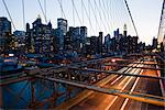 Brooklyn Bridge in the evening,  Manhattan, New York, United States of America, North America Stock Photo - Premium Rights-Managed, Artist: Robert Harding Images, Code: 841-03454311