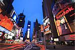 Times Square at dusk, Manhattan, New York City, New York, United States of America, North America