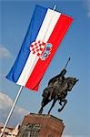 Statue of King Tomislav and Croatian Flag, Zagreb, Croatia Stock Photo - Premium Rights-Managed, Artist: Damir Frkovic, Code: 700-03456457