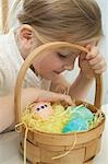 Little Girl With Basket of Easter Eggs Stock Photo - Premium Royalty-Free, Artist: Shannon Mendes, Code: 600-03456690