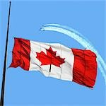 Canadian Flag at Half Mast, Snowbirds in the Background