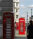 Red phone boxes, Parliament Square, London. Architects: Sir Giles Gilbert Scott