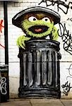 Urban Grafitti, East London - Seasame Street style Monster (Oscar the grouch) in a bin Stock Photo - Premium Rights-Managed, Artist: Arcaid, Code: 845-03464459