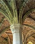 Buildwas Abbey. View of one of the decorated capitals and the ribbed vaulting in the chapter house. Stock Photo - Premium Rights-Managed, Artist: Arcaid, Code: 845-03464672