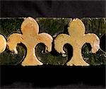 Byland Abbey. Fleur-de-lys pattern mosaic floor tiles possibly from a border pattern or step riser . Stock Photo - Premium Rights-Managed, Artist: Arcaid, Code: 845-03464676