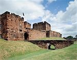 Carlisle Castle. View from the South West of the Outer Gatehouse and the Keep beyond. Mary, Queen of Scots was imprisioned at the castle in 1568. Stock Photo - Premium Rights-Managed, Artist: Arcaid, Code: 845-03464684