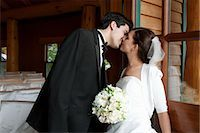special moment - Portrait of Bride and Groom Kissing Stock Photo - Premium Rights-Managednull, Code: 700-03466449