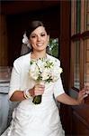 Portrait of Bride holding Bouquet Stock Photo - Premium Rights-Managed, Artist: Marnie Burkhart, Code: 700-03466453