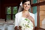 Portrait of Bride holding Bouquet Stock Photo - Premium Rights-Managed, Artist: Marnie Burkhart, Code: 700-03466454
