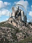 Glass Dome over City on top of a Hill Stock Photo - Premium Rights-Managed, Artist: Marc Simon, Code: 700-03466493
