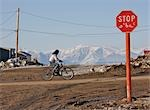 Cyclist, Pond Inlet with Bylot Island in Background, Baffin Island , Nunavut, Canada Stock Photo - Premium Rights-Managed, Artist: Hans Blohm, Code: 700-03466576