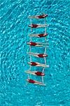 Synchronised swimmers form a ladder Stock Photo - Premium Royalty-Free, Artist: Aflo Sport               , Code: 693-03474154