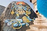 Paintings of Lord Shiva and Goddess Kali on a rock, Golkonda Fort, Hyderabad, Andhra Pradesh, India