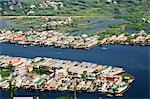 Aerial view of houseboats in a lake, Dal Lake, Srinagar, Jammu and Kashmir, India