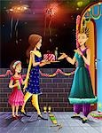 Women giving gift to her neighbour in the occasion of diwali Stock Photo - Premium Royalty-Freenull, Code: 630-03481408