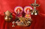 Diwali thali in front of idols of Lord Ganesha and Goddess Lakshmi Stock Photo - Premium Royalty-Free, Artist: Minden Pictures, Code: 630-03482064