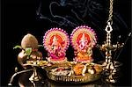 Diwali thali in front of idols of Lord Ganesha and Goddess Lakshmi Stock Photo - Premium Royalty-Free, Artist: Minden Pictures, Code: 630-03482066