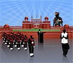 Independence day celebration in front of a fort, Red Fort, Delhi, India