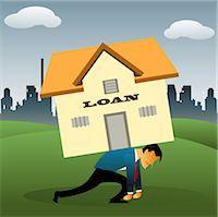 sweaty businessman - Illustrative representation of a man overburdened with housing loan Stock Photo - Premium Royalty-Freenull, Code: 630-03482277