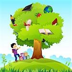 Schoolboy standing near a knowledge tree