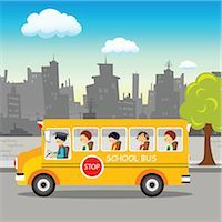 School bus on its way Stock Photo - Premium Royalty-Freenull, Code: 630-03482422