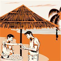food stalls - Vendor serving Indian snack panipuri to a man on the beach, India Stock Photo - Premium Royalty-Freenull, Code: 630-03482465