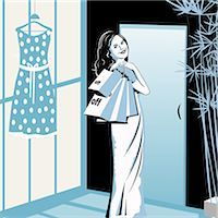 Woman shopping in a clothing store Stock Photo - Premium Royalty-Freenull, Code: 630-03482512
