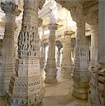 Detail of a few of the 1444 pillars all hand carved and different, inside the Jain Temple, Ranakpur, Rajasthan state, India, Asia Stock Photo - Premium Rights-Managed, Artist: Robert Harding Images, Code: 841-03483694