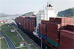 Cargo Containers on Ship, Panama Canal, Panama