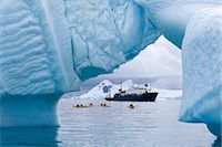 Kayakers and Russian Expedition Ship Akademik Shokalskiy, Antarctic Ocean, Antarctica Stock Photo - Premium Rights-Managed, Artist: Jamie Scarrow, Code: 700-03484601