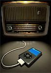 MP3 Player Connected to Old Radio Stock Photo - Premium Rights-Managed, Artist: Andrew Kolb, Code: 700-03485005