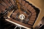 Elevated view of spiral staircase in a Parisian hotel Stock Photo - Premium Rights-Managed, Artist: ableimages, Code: 822-03485177