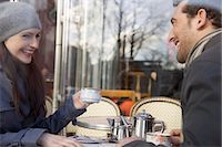 Young couple at cafe, Paris, France Stock Photo - Premium Rights-Managednull, Code: 822-03485275