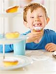 Young boy eating a cupcake Stock Photo - Premium Rights-Managed, Artist: ableimages, Code: 822-03485436