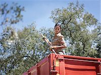 farmhand (female) - Woman in trailer with fork Stock Photo - Premium Royalty-Freenull, Code: 649-03487516